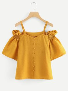 Dotfashion Off The Shoulder Button Pleated Sleeve Yellow Top Summer Short Sleeve Spaghetti Strap Women Weekend Casual Blouse Girl Outfits, Cute Outfits, Fashion Outfits, Look Fashion, Girl Fashion, Yellow Top, Yellow Style, Color Yellow, Spring Shirts