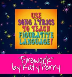 "For my ELA friends: Use Katy Perry's popular song ""Firework"" to teach figurative language, sound devices, and other poetry terms. You can decide how many and which dev. Teaching Poetry, Teaching Language Arts, Teaching Reading, Speech And Language, Katy Perry Firework, Katy Perry Songs, Figurative Language Activity, Teaching Activities, Language Activities"