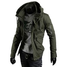 Hooded Mens Military Casual Streetwear Punk Style Tactical Overcoat - Men's Style Punk Mode, Streetwear Jackets, Herren Outfit, Cyberpunk Fashion, Cheap Fashion, Womens Fashion, Mens Clothing Styles, Stylish Outfits, Street Wear