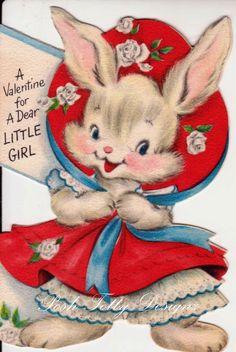 Vintage A Valentime For A Dear Little Girl Hallmark Valentines Greetings Card (B7)