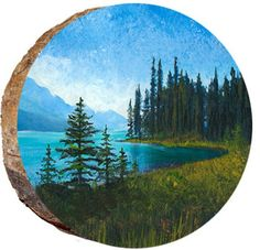 Banff Wilderness - Wilderness - How To Make Wood Art ? Wood art is generally the task of surrounding around and inside, so long as the top of anything is fl. Wood Painting Art, Stone Painting, Rock Painting Designs, Mountain Paintings, Painted Rocks, Painted Wood, Pictures To Paint, Stone Art, Rock Art