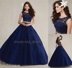 Image is loading 2016-Two-Pieces-Navy-Blue-Lace-Prom-Ball-