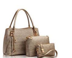 Luxusný dámsky set - kabelka, etuja a peňaženka v zlatej farbe