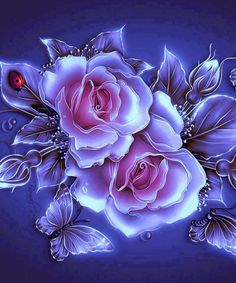 By Artist Unknown - Herz - Blumen Flowery Wallpaper, Flower Phone Wallpaper, Butterfly Wallpaper, Rose Wallpaper, Beautiful Flowers Wallpapers, Beautiful Rose Flowers, Pretty Wallpapers, Photo Rose, Rose Art