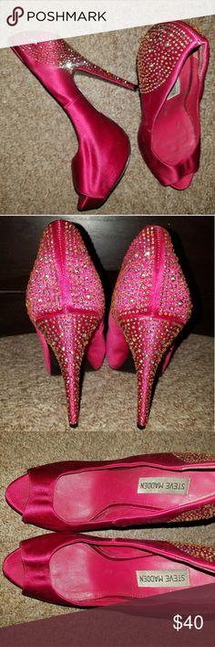 Steve Madden Rhinestone Heels Magenta Steve Madden heels worn once size 7 Steve Madden Shoes Heels