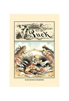 'Puck Magazine: in His Second Childhood' Print (Unframed Paper Poster Giclee 20x29)