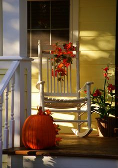 Sweet and simple fall porch Happy Fall Y'all, Happy Monday, It's Monday, Monday Morning, Happy Weekend, Happy Saturday, Monday Greetings, Monday Wishes, Seasons Of The Year