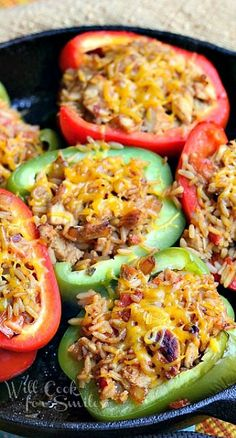 Chicken Fajita Stuffed Peppers-- Made this the other night. Came out great but if you want softer peppers, I would recommend cooking the peppers for five minutes, scooping in the mixture then cooking for 15.