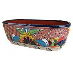 Raised Painted Clay Canoe Talavera Pot
