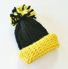 Handmade Black & Gold Knitted Baby Newborn Pom Pom Hat, by CrimsonHillDesignsKS