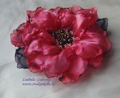 Ręcznie robione z organzy różowy kwiat Broszka kwiat clip & | Etsy