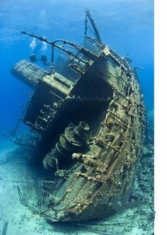 remains of the shipwreck that still lie on the deep ocean floor.