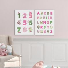 Alphabet and Numbers Nursery Print for Girls, Nursery Art Set, Girls Room Decor, Pink and Mint Green Decor for Girls, Printable Nursery Art