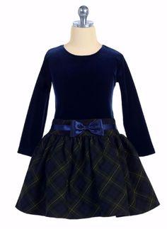Green Plaid Girls Drop Waist Holiday Dress w Navy Velvet Bodice C963 Christmas…