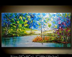 contemporary wall art,Palette Knife Painting, Colourful tree Painting,wall decor Home Decor,Acrylic Textured Painting ON Canvas by Chen Contemporary Wall Art, Contemporary Landscape, Abstract Landscape, Landscape Paintings, Painting Abstract, Painting Art, Palette Knife Painting, Texture Painting, Office Decorations