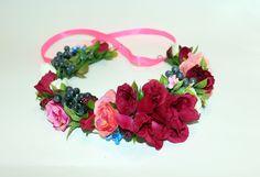 Wedding flower headpiece, Bohemian flower crown, Bridal hair accessories, Rustic Wedding Bride Headpiece, Boho wedding Halo, flower crown by forBridal on Etsy