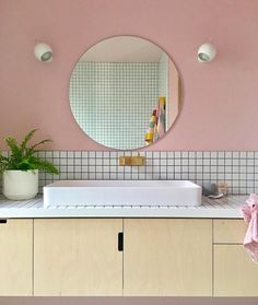 The ultimate Tuesday morning bathroom goals via 🛁🙌🏽 Our Haymes 'Shell Pink' was the perfect fit for this amazing Barwon Heads coastal renovation. Bathroom Mural, Boho Bathroom, Diy Bathroom Decor, Bathroom Interior Design, Washroom, Bungalow Bathroom, Mid Century Bathroom, Pastel Interior, Restroom Design