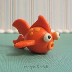 *POLYMER CLAY ~ Orange Goldfish Figurine - Miniature Sculpture - Polymer Clay - Nautical - Handmade.
