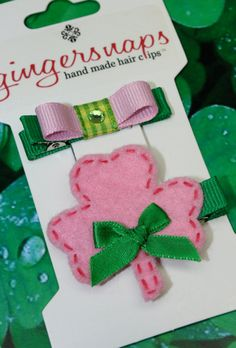 ST PATRICK'S DAY Pink & Green Clover and Bow Hair by sstonerook, $7.50