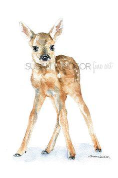 Reh Rehkitz Aquarellmalerei Giclee Print 5 x 7 von SusanWindsor