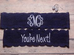 Monogrammed Garter, Monogram, Personalized Garter, Custom Garter, Navy Blue Garter, Blue Garter, Something Blue, You're Next Garter, Wedding by BloomsandBlessings on Etsy