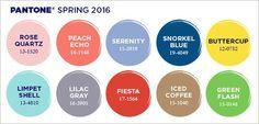 The Pantone Top 10 colors for Spring 2016 are out: PANTONE 13-1520 Rose Quartz PANTONE 16-1548 Peach Echo PANTONE 15-3919 Serenity PANTONE 19-4049 Snorkel Blue PANTONE 12-0752 Buttercup PANTONE 13-…
