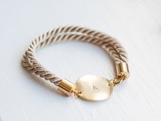 Personalized Bracelet Beige Golden Nautical bracelet personalized jewelry initial bracelet bridal wedding bridesmaid silk cord bracelet knot on Etsy, $20.50
