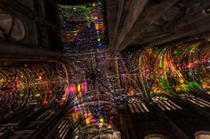 Artist Miguel Chevalier Projects Imaginary Starscapes onto the Ceiling of a Gothic Cathedral in Paris,Screenshot of Voûtes Célestes