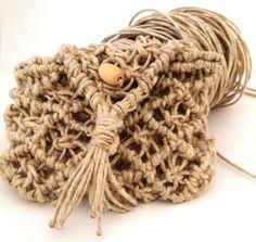 Natural hemp bag country style small bag key di morenamacrame