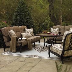 Our sweeping, estate-sized Marseilles Seating Collection is romanced with thick, sculpted cushions, intricate trellis seat backs, scrolling arms, and classic turned legs.