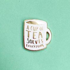 At Sew Over It we are firm believers that a cup of tea can get you through a lot! We LOVE these enamel pins by Nikki McWilliams :: A Cup of Tea Solves Everything