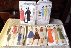 Vintage Lot of 5 sewing patterns-Dresses-costumes-skirts, 2-18 sizes, 1959-1990