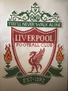 Liverpool Pearler Beads, Fuse Beads, Hama Beads Patterns, Beading Patterns, Diy And Crafts, Crafts For Kids, Arts And Crafts, Liverpool Logo, Cross Stitch Freebies