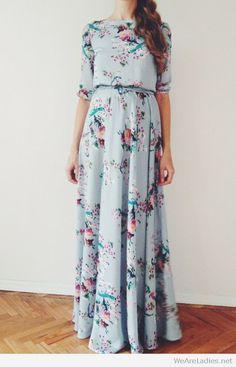 Long vintage floral print dress