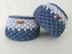 Dorm decor Crochet Baskets / tshirt yarn basket crochet Crochet Baskets, T Shirt Yarn, Dorm Decorations, Chrochet