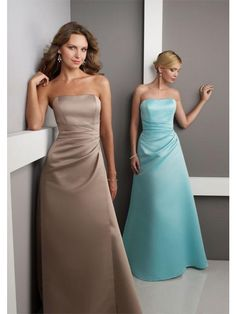 Full Length Strapless Contoured Symmetrical Draping Bodice Satin Bridesmaid Dress