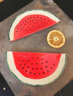 Watermelon Ceramic Trinket Plate Fruit Pottery Dish Red