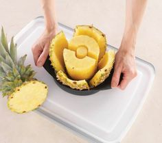 If you have evern gone through the pain of cutting a fresh pineapple, you need this!  Pampered Chef Pineapple Wedger