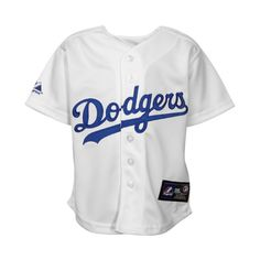 LA Dodger Jersey : Majestic L.A. Dodgers Toddler Replica Jersey -... ($45) ❤ liked on Polyvore featuring tops