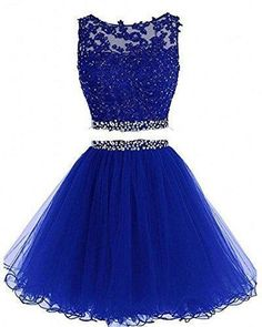 Charming Tulle Short Homecoming Dress, Royal Blue Two Piece Prom Dress, Appliques Prom Gowns - Nicely homecoming dress Homecoming Dresses Under 100, Two Piece Homecoming Dress, Cute Prom Dresses, Sweet 16 Dresses, Pretty Dresses, Sexy Dresses, Evening Dresses, Bridesmaid Dresses, Long Dresses