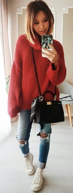 #spring #outfits red sweater. Pic by @eninad42