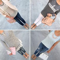 Weekly Spring and Summer Outfits: denim jeans, nude sandals, polka dot top, blush blazer, crossbody purse, Chloe bag, clutch, lace top and more! // http://www.stylishpetite.com/2015/05/weekly-outfits-winner-of-ann-taylor-crystal-pearlized-necklace-giveaway.html