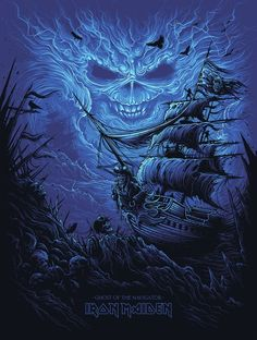 Dan Mumford Iron Maiden Ghost of the Navigator Poster Iron Maiden Band, Iron Maiden Cover, Eddie Iron Maiden, Arte Heavy Metal, Heavy Metal Bands, Heavy Metal Tattoo, Hard Rock, Rock Posters, Band Posters