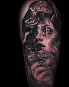 Design Tattoo Realista 59 Ideas For 2019 Forearm Tattoos, Body Art Tattoos, Sleeve Tattoos, Hand Tattoos, Portrait Tattoos, Medusa Tattoo Design, Tattoo Designs, Greek God Tattoo, Medusa Art