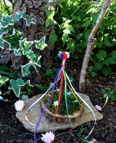 Handmade Beltane Maypole Decoration For Garden or altar by PositivelyPagan, Beltane, Wiccan Altar, Pagan, Spring Fertility, Garden Arches, Woodland Decor, Beautiful Gardens, Projects To Try, Paper Crafts