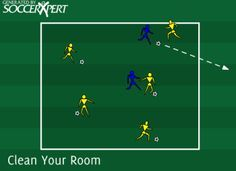 clean your room, defensive, dribbling, soccer drill