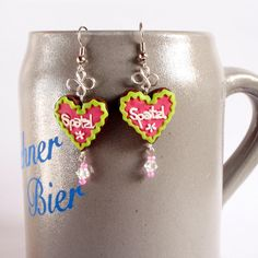 Gingerbread Heart Cookie Earrings for Oktoberfest - Customize with your favorite icing colors or put your name on them. Mini Food by SchickieMickie, 35.00Eur/$46.