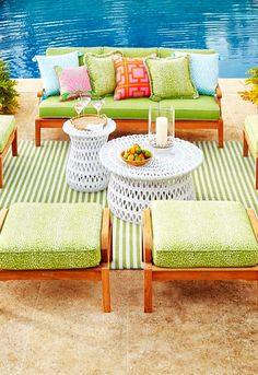 A grand scale and teak hardwoods make our Cassara Seating Collection the perfect destination at the end of the day. Each piece is handcrafted from plantation-grown teak that has been kiln dried to eliminate expansion and shrinkage. Outdoor Rooms, Outdoor Living, Outdoor Furniture Sets, Outdoor Decor, Nantucket Cottage, Cushion Fabric, Spring Home, Living Spaces, Living Room