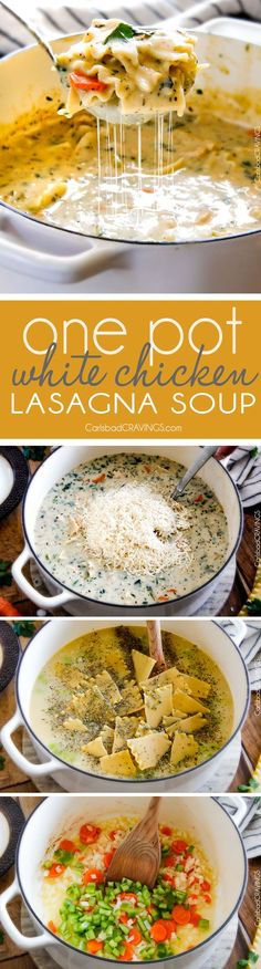 Easy One Pot White Chicken Lasagna Soup - my family LOVES this soup! It tastes just like creamy white chicken lasagna with layers of cheesy noodles without all the layering or dishes! Simply saute chicken and veggies and dump in all ingredients and simmer away!