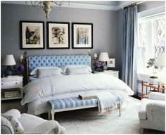 Love this bedroom. Tufted bed and the bench is divine. White lacquered night stands....yes please.